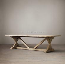 DT-1505 Salvaged Wood Furniture K Shape Leg Old Elm Dining Table