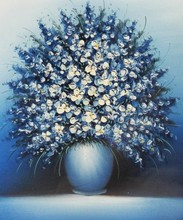 newest desisn with Still life art oil painting on canvas blue little flowers home decoration
