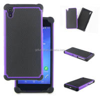Rugged hybrid armor dual layer flexible shockproof TPU silicone bumper back cover and hard PC frame case for Sony xperia Z2