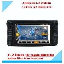 Android 4.2.2 system 6.2 inch touch screen car dvd player for toyota universal with mutiple function