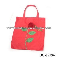 hot sale polyester foldable rose shopping bag