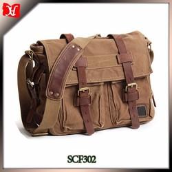 Khaki color canvas with leather trim shoulder bag messenger bag for men