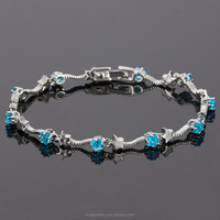 Jewelry Silver Ton White Gold P Blue Aquamarine Topaz Press Star Cut Tennis Bracelet