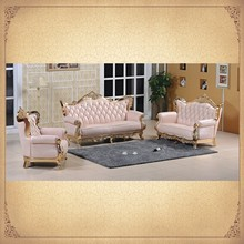 Fancy Design Crystal Tufted Pink Foshan Sofa Royal Living Room Furniture Sets