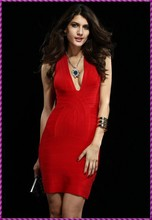 bandage halter backless red deep neckline wedding and evening dress