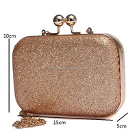 Best Sell High Quality Glitter Bling Box Shaped Kisslock Clasp Gold Evening Purse Bag (XJEB233)