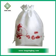 Fashionable recycled small drawstring christmas mesh gift bag