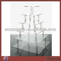 Square 6 tiers high transparent acrylic wedding cupcake stand
