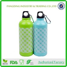 Round Aluminum Sport Water Bottle Bpa Free Narrow Mouth 600ml With Carabiner