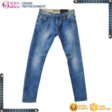 Blue color slim design moustache effect finished funky jeans pants for man