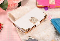 For Samsung Galaxy Note 3 Note III N9000 Mobile Phone Case Lady Wallet Case with 3d Bling Rhinestone Diamond Fold Flip Leather