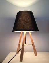 Fabric shade with tripod wood base table lamp