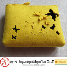 2015 New products wholesale cheap portable personal Butterfly felt cosmetic cases