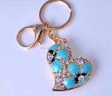 Promotional zinc alloy heart shape crystal keychain for Valentine Day