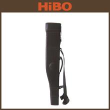 WOONDEN HARD FRAME DARK BROWN LEATHER 2 PIECE SHOTGUN / RIFLE LEG OF MUTTON GUN CASE