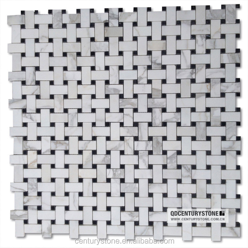 Basket Weave White And Black Bathroom Floor And Wall Marble Mosaic