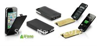 MFi Certified iFans PU leather case for iphone 4s external backup battery charger