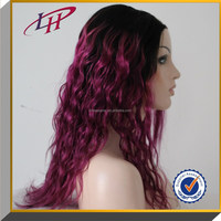 2015 New Arrival ! purple two tone ombre color 100% Brazilian Virgin human Hair Full Lace Wigs