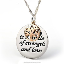 MoonSoul Jewelry Fashion 18KGP Engraved Words Family and Tree Necklace FN10043 Jewelry Manufacturer