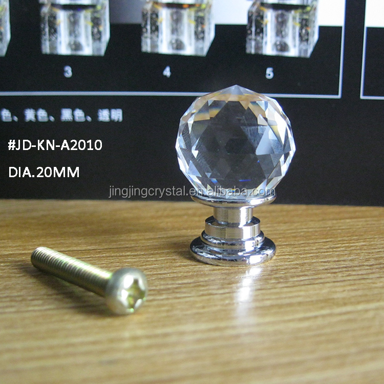 Wholesale lovely crystal small knob 20mm clear white k9 for Crystal bureau knobs