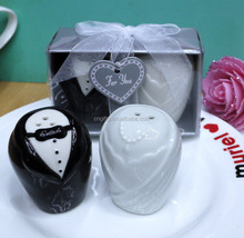 2015 Bride and Groom Ceramic Salt and Pepper Shakers Souvenirs Wedding gifts for guest
