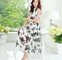 d60074h 2015 summer new chiffon Bohemia fashion turtleneck sleeveless Printed full-skirted dress