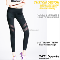 Workout Fitness wear apparel spandex with mesh fabrics custom design Ladies Cheap lycra girls yoga pants