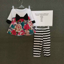 2015 kids fall thanksgiving outfit beautiful flower print shirt with big black bow and stripe full pants one set