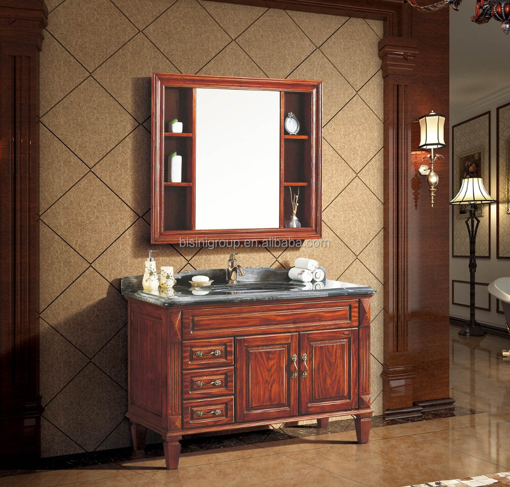 Classic Carved Wood Bathroom Furniture Elegant American Style Bathroom Vanity For Hotel Bf08