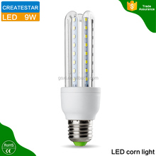 SMD2835 AC85~265V 7w 9w 3u shaped led corn lamp with 360 degree lighting