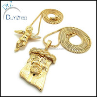 Hip Hop Iced Out Jesus Piece Angel Wings Baby Box Chain Pendant Set Gold