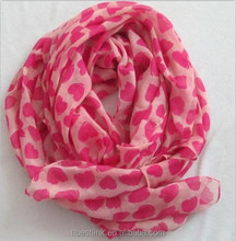 Charming Fashion Heart-shape Printing Girls Women Chiffon Scarf