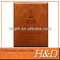 high quality souvenir/award wood memorial plaques with metal/glass