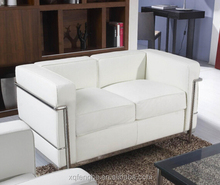 popular white leather 2 seater lc2 sofa