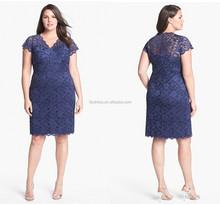 V Neck Short Sleeves Lace Plus Size Short Custom Made Design Evening Party Wear Robe TD002 evening dress knee length size