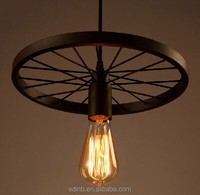 2015 hot sale pendant lamp industrial style Iron wheel lights combination muti colors light
