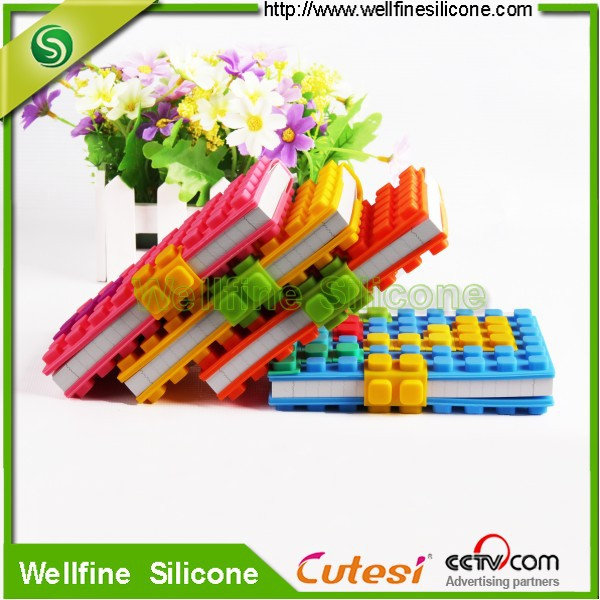a6 DIY round and square blocks silicone book cover,soft book cover of factory price