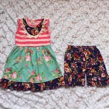 2015Hot Sale Children's Plain Cotton Summer Outfit Girls Clothing Set Kids Stripes Dress Match Ruffle Floral Short Set Baby Suit