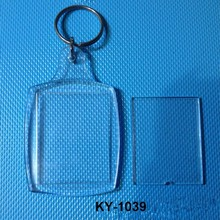 wholesale transparent blank Insert photo picture frame key ring split ring key chain OME acrylic photo key chain