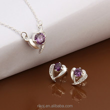 Wholesale heart amethyst party 925 sterling silver plated fashion jewelry set 2015