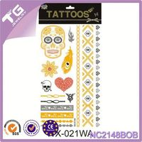 Waterproof Tent Tattoo,Water Transfer Golden Metallic Tattoo Stickers,Outdoor Wall Stickers