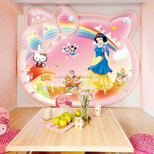 Famous cartoon snow white and the seven dwarfs mural wallpaper for kids