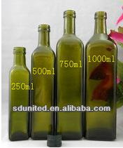 250ml/500ml/750ml/1000ml Square Green Empty Bottle For Olive Oil