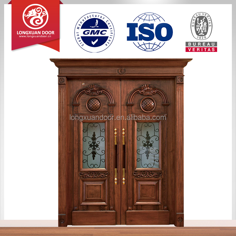Teak wood double entry door design used solid wood for Entrance teak door designs
