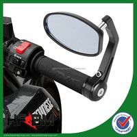 """Universal Motorcycle 7/8"""" 22mm Handlebar Bar End Rear View Side Mirrors Oval"""