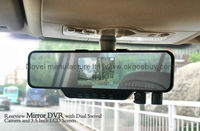 3.5 inch dual lens 720P Rearview Mirror Car DVR, in car with camera, roof mount car camera