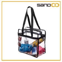 Supplier popular designer hand bags, transparent clear pvc tote bag