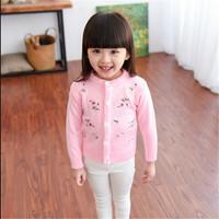 FG028 korean embroidered flower cardigans long sleeve wool handmade sweater design for girl