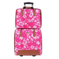 2015 hot promotion colorful snowflake high quality polyester material 2pcs trolley luggage for travel