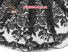 nl10051 african french lace and net sarees black lace fabric